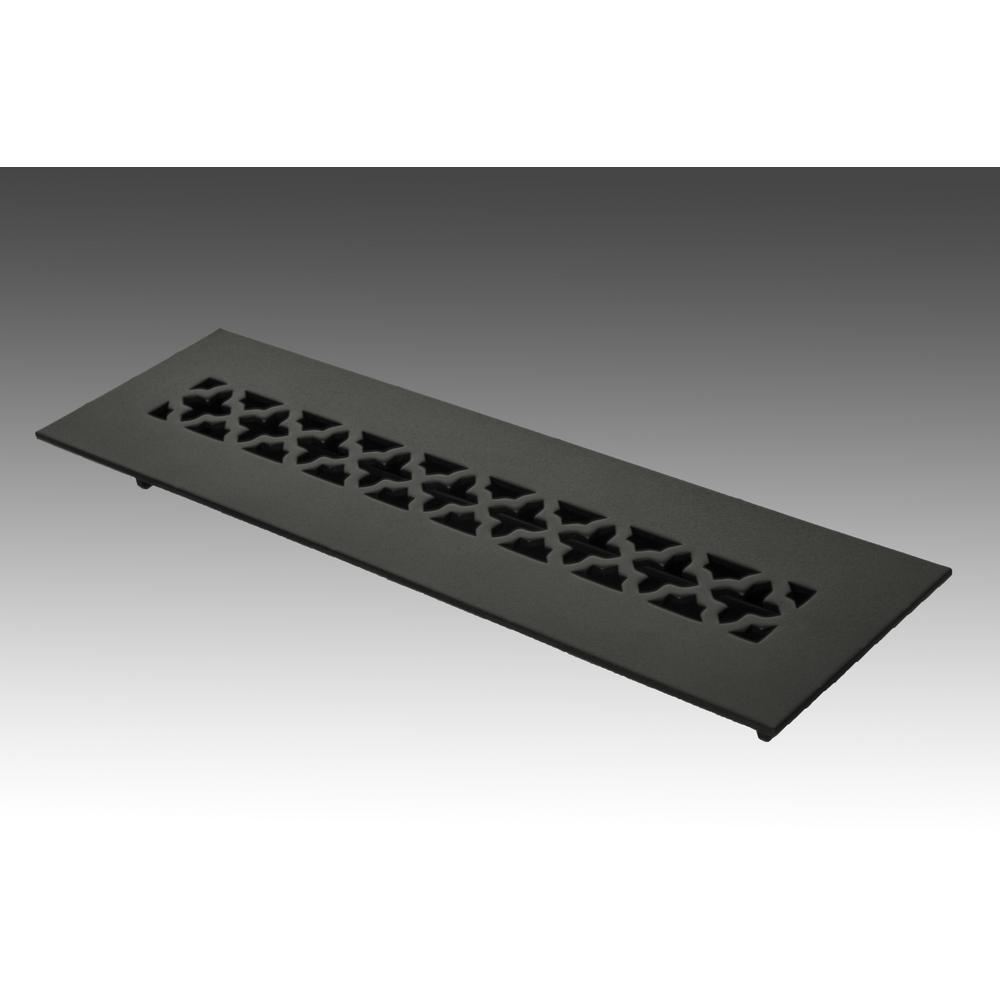 12 in. x 2.25 in. Black Poweder Coat Steel Floor Vent with Opposed Blade Damper