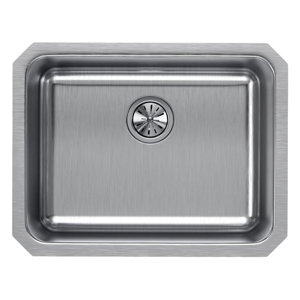 Elkay Lustertone Undermount Stainless Steel 24 in. Single Basin Kitchen Sink