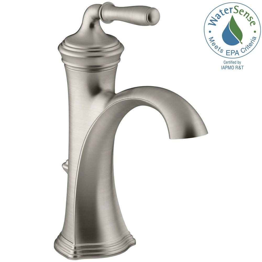 Kohler Devonshire Single Hole Handle Water Saving Bathroom Faucet In Vibrant Brushed Nickel