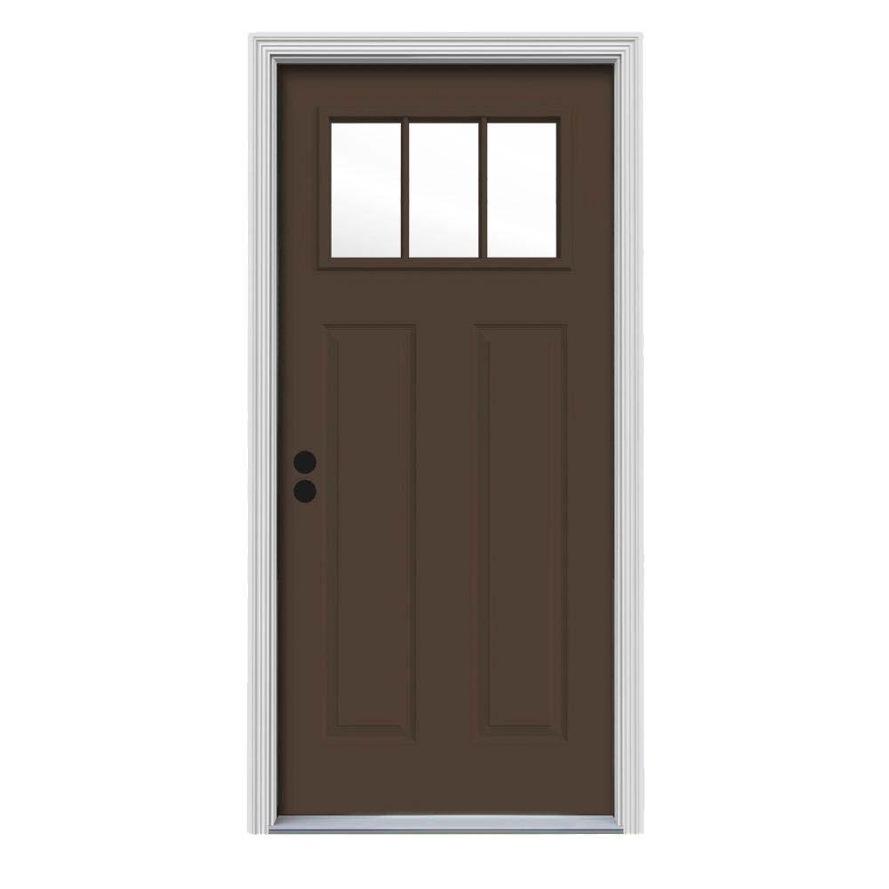 30 in. x 80 in. 3 Lite Craftsman Dark Chocolate Painted