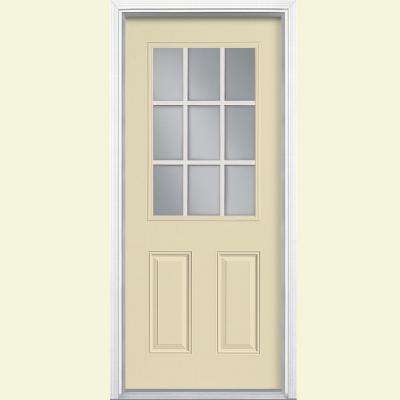 32 in. x 80 in. 9-Lite Left Hand Inswing Golden Haystack Painted Steel Prehung Front Door with Brickmold, Vinyl Frame