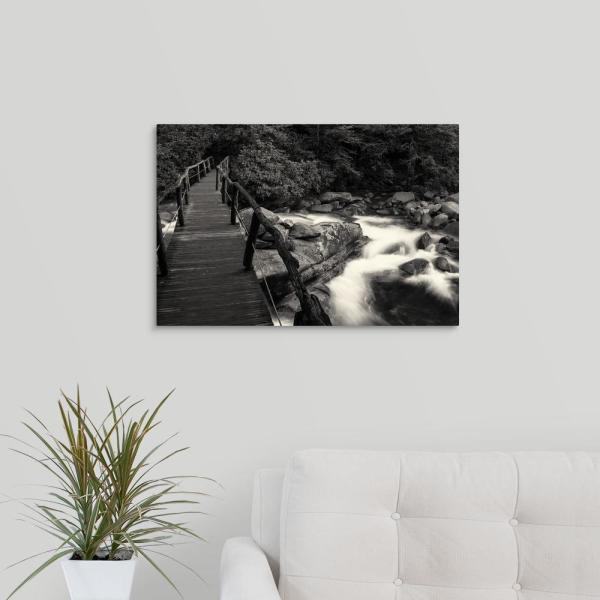 GreatBigCanvas ''Chimney Tops Bridge I - Black and White'' by Bob