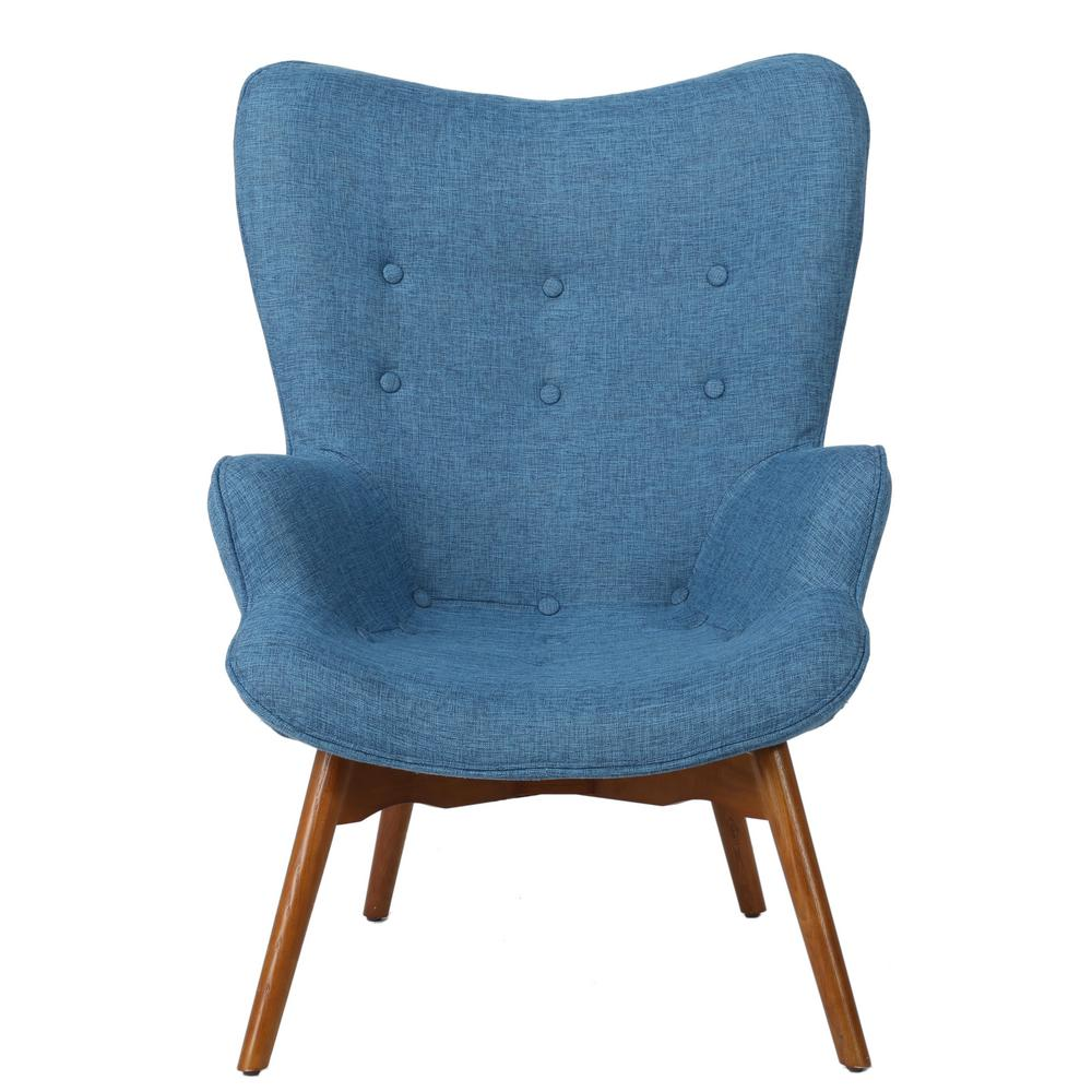 Noble House Hariata Button Back Muted Blue Fabric Contour Chair