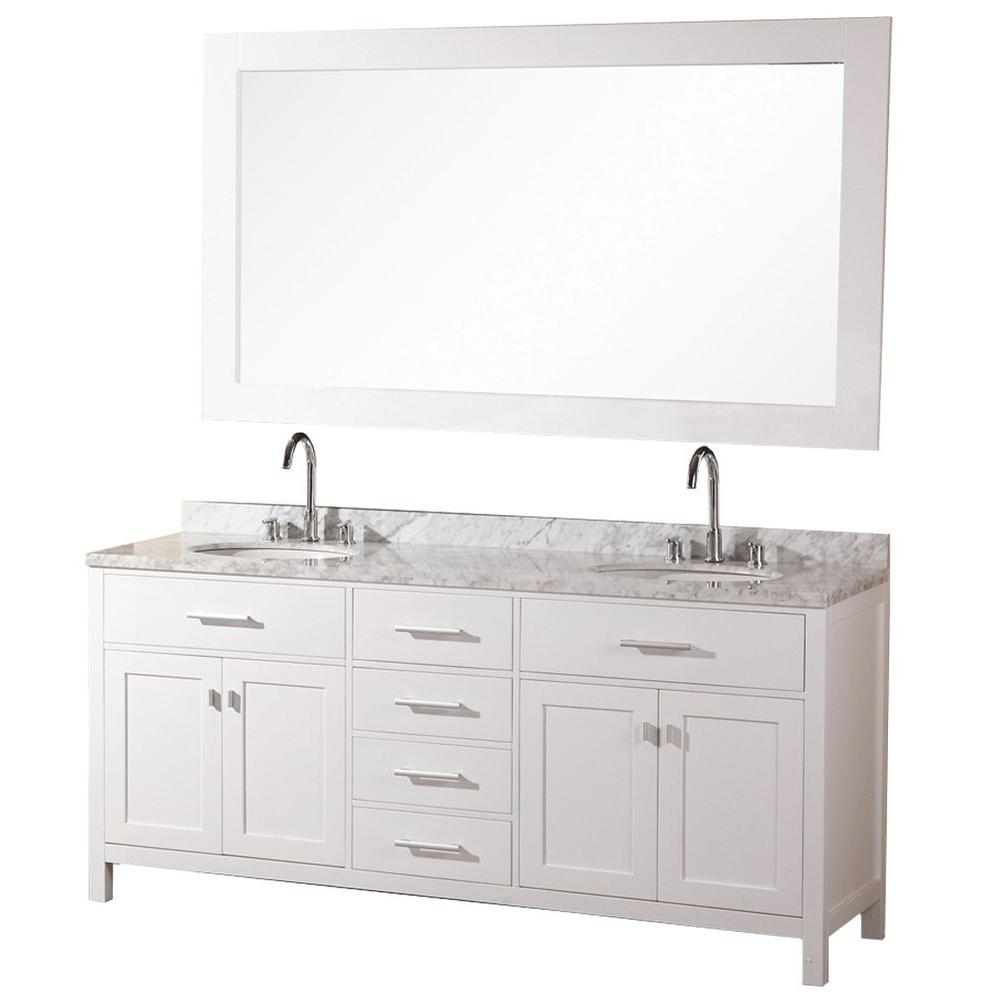 Design Element London 72 in. W x 22 in. D Vanity in Pearl White with ...