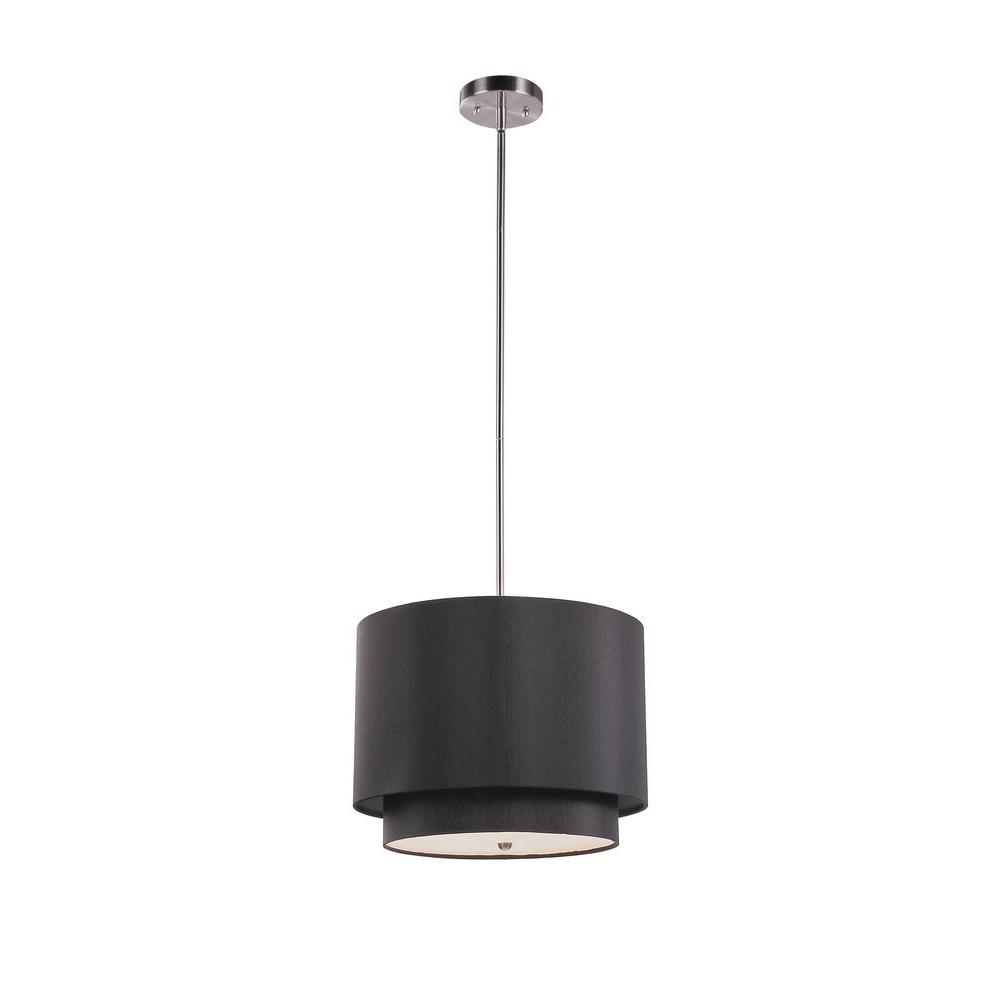 Bel Air Lighting Cabernet Collection 1-Light Brushed Nickel Pendant with Black Shade