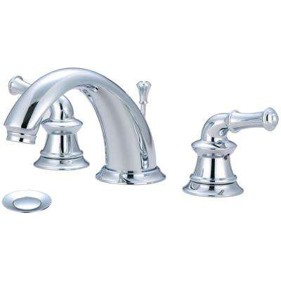 Del Mar 8 in. Widespread 2-Handle Bathroom Faucet with Drain in Polished Chrome