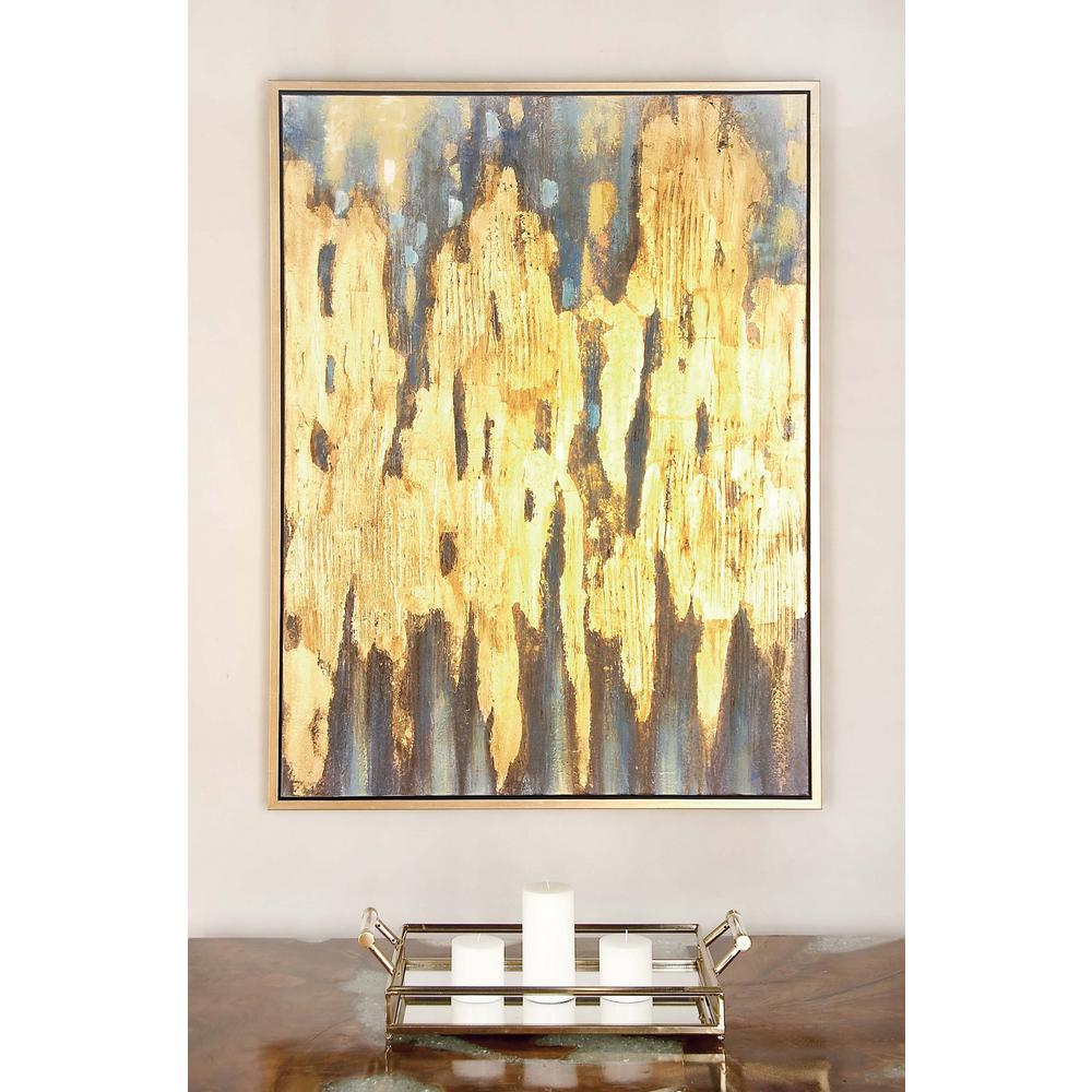 "Litton Lane 47 in. x 36 in. ""Gold and Blue Color Field ..."