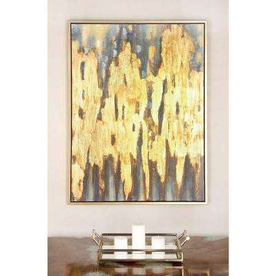 "47 in. x 36 in. ""Gold and Blue Color Field"" Canvas Wall Art"