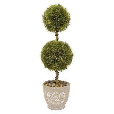 7.5 in. x 7.5 in. Green Faux Topiary Pot