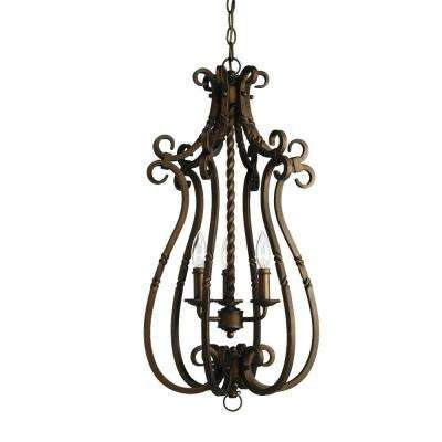 Santiago Collection 3-Light Roasted Java Foyer Pendant