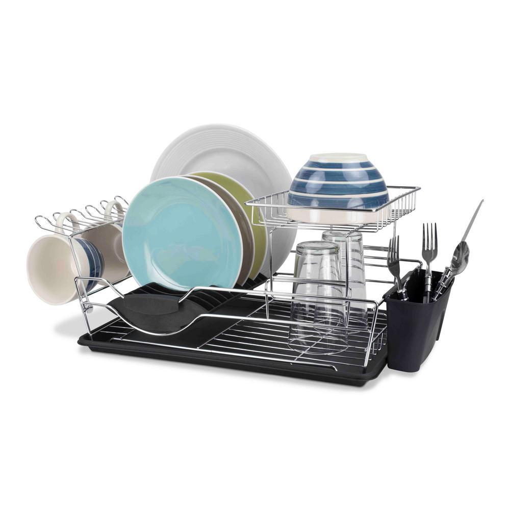 e99fcab6a931 Home Basics 2-Tier Dish Rack DD44626 - The Home Depot