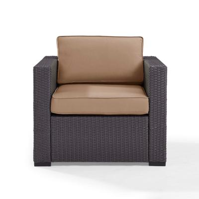 Biscayne Wicker Outdoor Lounge Chair with Mocha Cushions