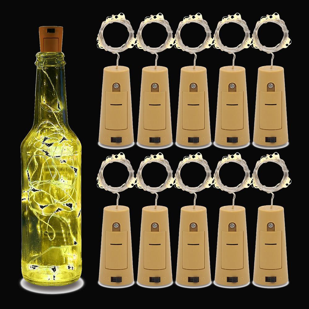 3 ft. 10-Light LED Warm White Wine Bottles Cork String Lights (10-Pack)