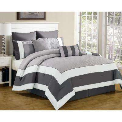 Queen Comforter Set in Spain Sandstone-Smoke (8-Piece)
