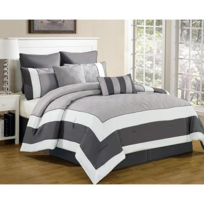 Queen 8-Piece Sandstone-Smoke Queen Comforter Set