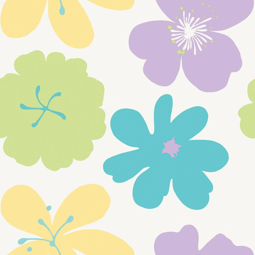 The Wallpaper Company 56 sq. ft. Brightly Colored Poppin' Poppies Wallpaper