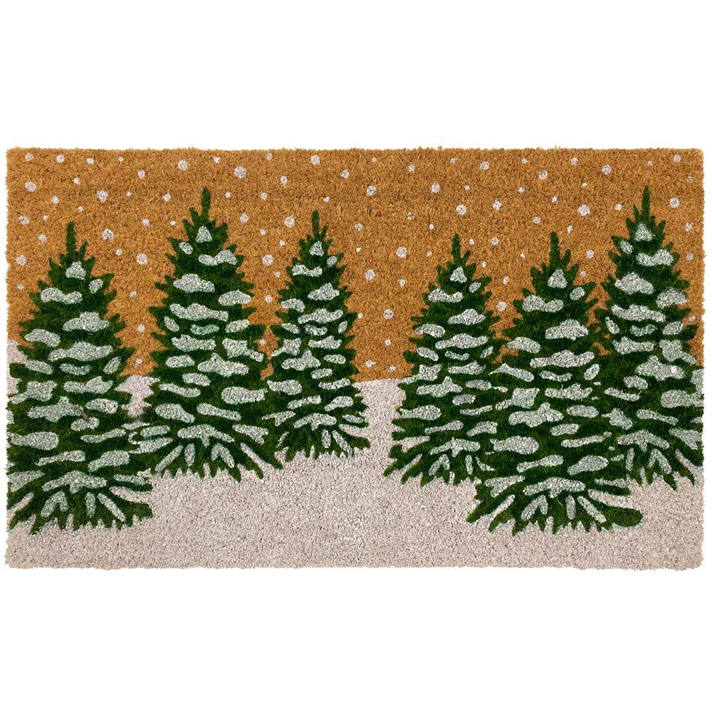 Winter Snow Trees Coir 18 in. x 30 in. Holiday Door Mat