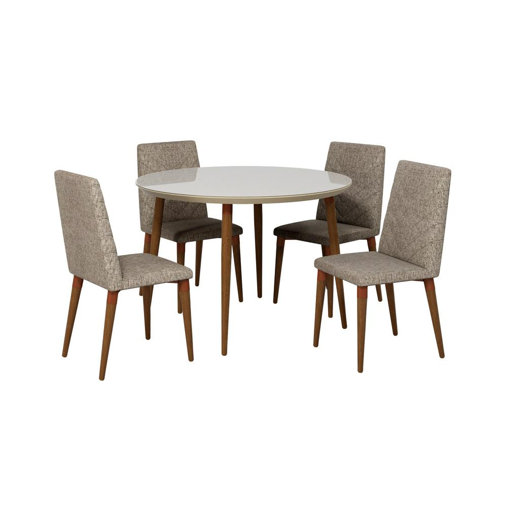 Utopia 45.28 in. 5-Piece Off White And Grey Round Dining Table And Chevron Dining Chair Set