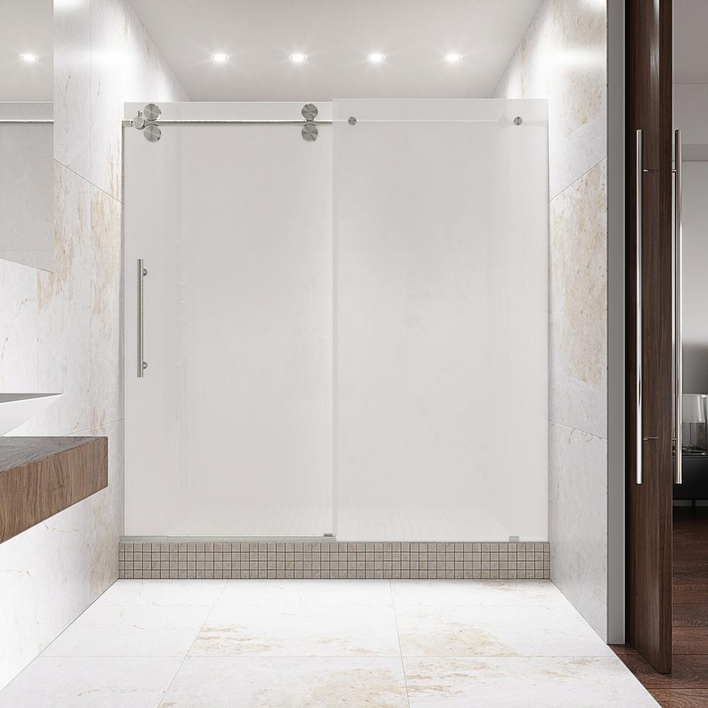 VIGO Elan 60 In. X 74 In. Frameless Bypass Shower Door In Stainless Steel With Frosted Glass