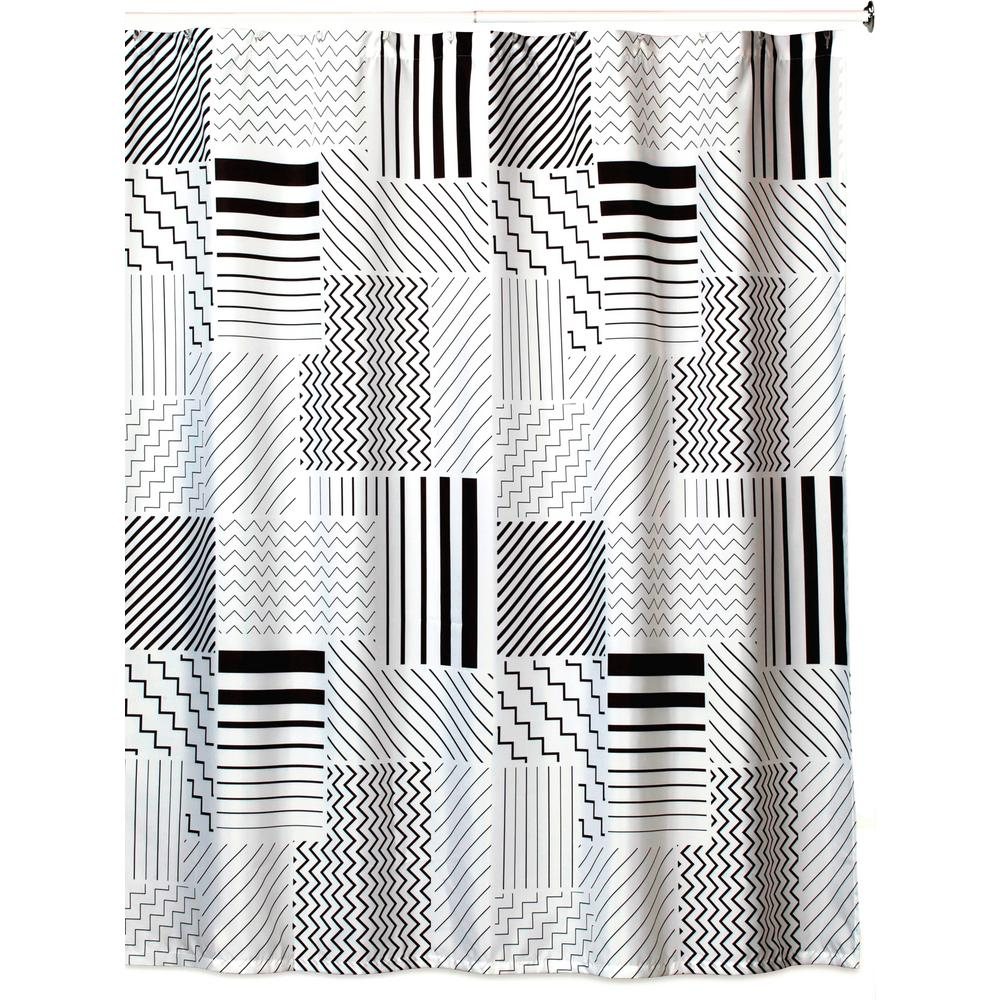 Black/White/Grey Polyester Shower
