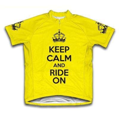 Unisex X-Large Yellow Keep Calm and Ride on Microfiber Short-Sleeved Jersey