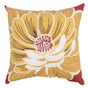 Chili Flower Square Outdoor Throw Pillow