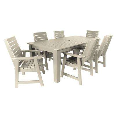 Weatherly Whitewash 7-Piece Recycled Plastic Rectangular Outdoor Dining Set
