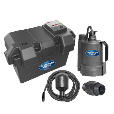 12-Volt Submersible Emergency Battery Backup Sump Pump System with Tethered Float Switch