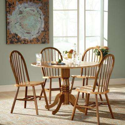 Cinnamon and Espresso Wood Spindle Back Windsor Dining Chair