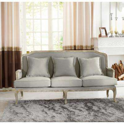 constanza french inspired beige fabric upholstered sofa