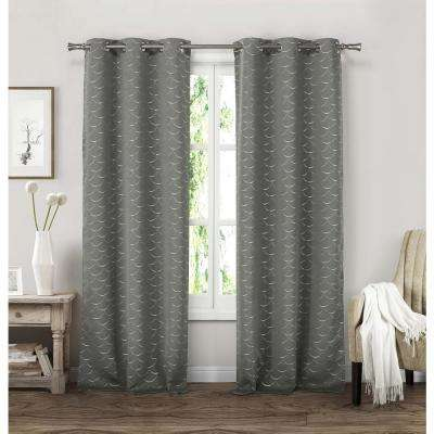 Micah 38 in. W x 84 in. L Polyester Window Panel in Grey