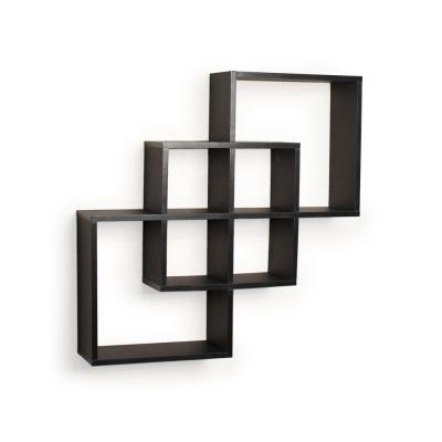 Contempo 23.5 in. W x 23.5 in. H Black Laminated MDF Intersecting Squares Decorative Wall Shelf