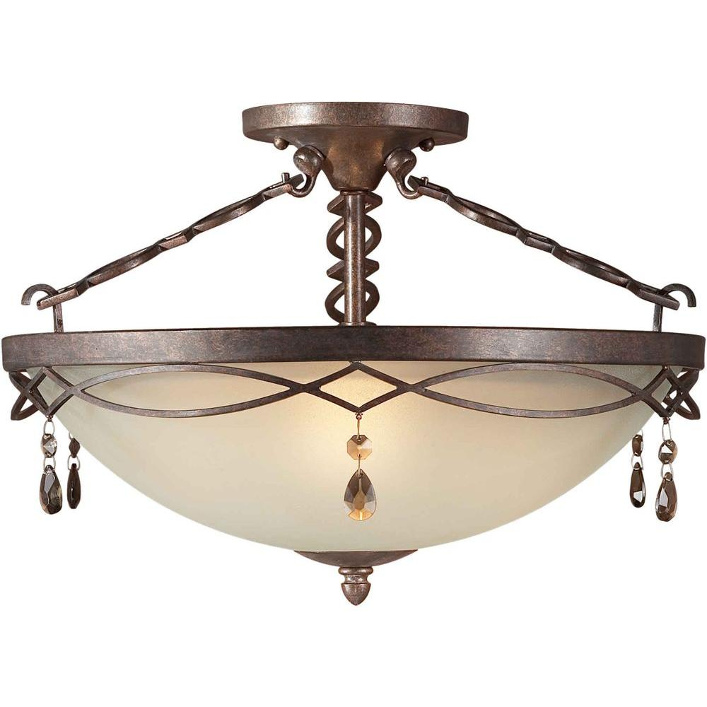 Talista 3-Light Black Cherry Semi Flush Mount with Shaded Umber Glass
