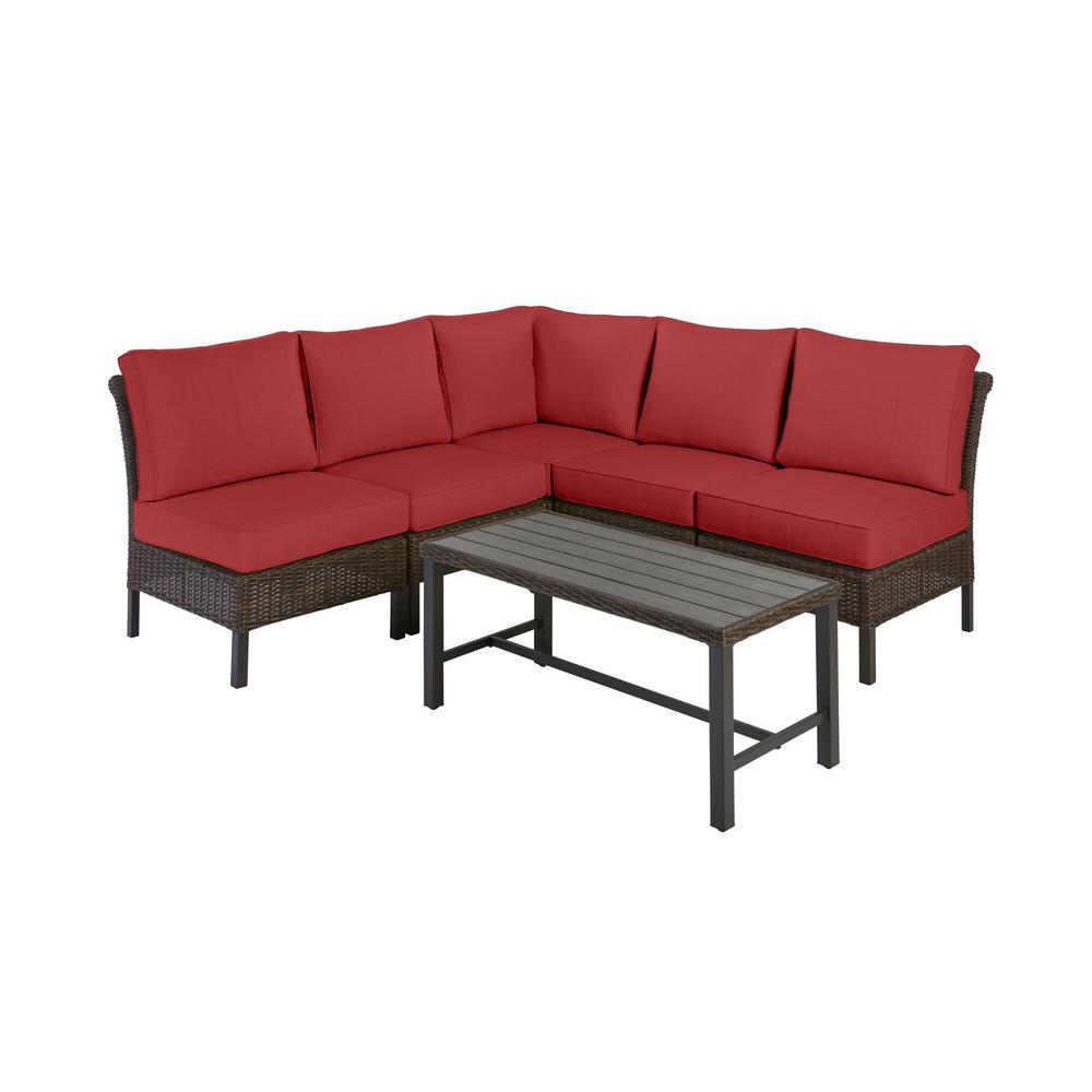 Harper Creek Brown 6-Piece Steel Outdoor Patio Sectional Sofa Seating Set with CushionGuard Chili Red Cushions