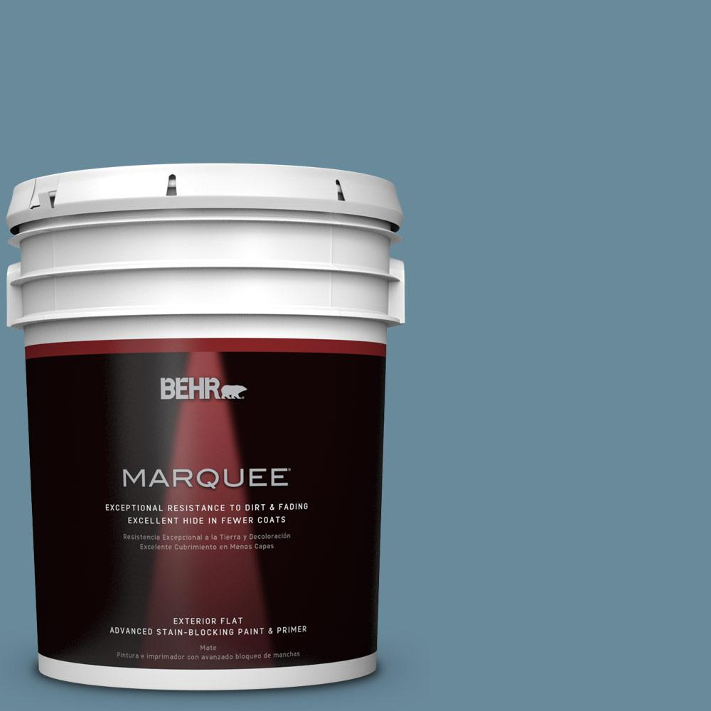 5-gal. #BIC-22 Relaxed Blue Flat Exterior Paint