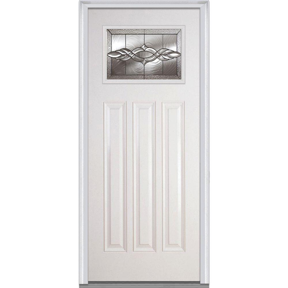 MMI Door 36 in. x 80 in. Brentwood Right-Hand Craftsman 1/4 Lite 3-Panel Classic Primed Fiberglass Smooth Prehung Front Door