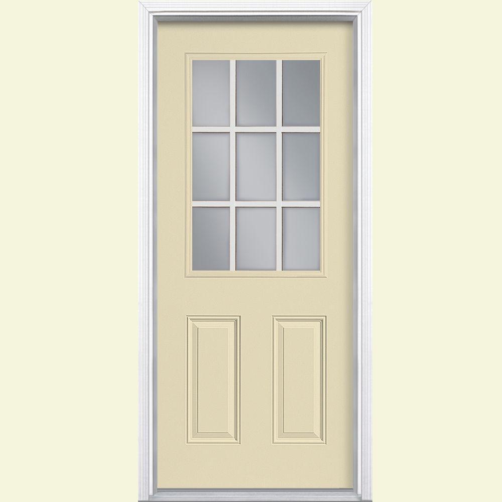 Masonite 36 in. x 80 in. 9 Lite Left Hand Inswing Painted Steel Prehung Front Door with Brickmold
