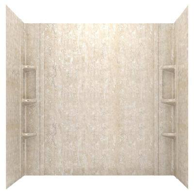 Ovation 32 in. x 60 in. x 59 in. 5-Piece Glue-Up Alcove Bath Wall Set in Sand Travertine