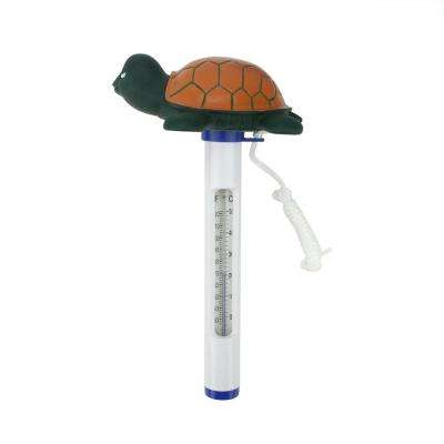 8.25 in. Green and Orange Floating Turtle Shaped Swimming Pool Thermometer with Cord