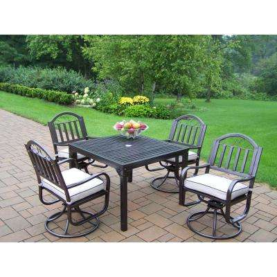 Rochester 5 Piece Outdoor Dining Set With Oatmeal Cushions