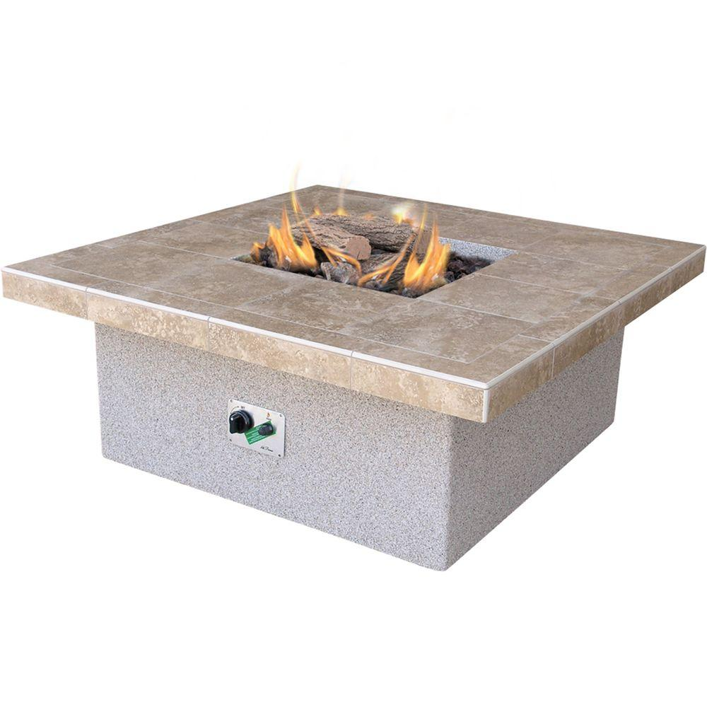 Cal Flame Stucco and Tile Square Propane Gas Fire Pit