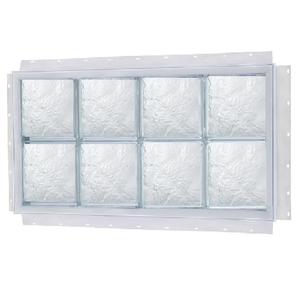 TAFCO WINDOWS 24 in. x 8 in. NailUp Ice Pattern Solid Glass Block ...