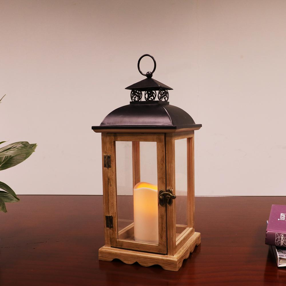 14 1 2 In Tall Wood And Metal Lantern With Led Candle