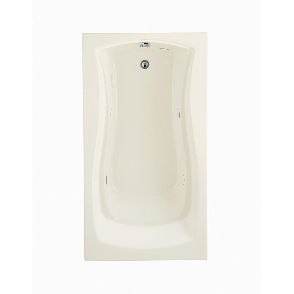 KOHLER Mariposa 5.5 ft. Acrylic Hourglass Rectangular Drop-in Whirlpool Bathtub in White