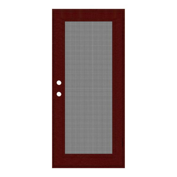 36 in. x 80 in. Full View Wineberry Right-Hand Surface Mount Security Door with Meshtec Screen
