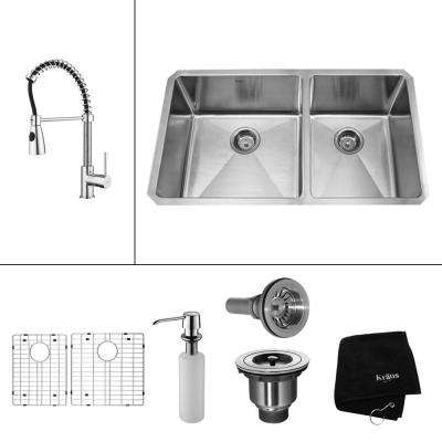 All-in-One Undermount Stainless Steel 33 in. 60/40 Double Bowl Kitchen Sink with Faucet and Accessories in Chrome