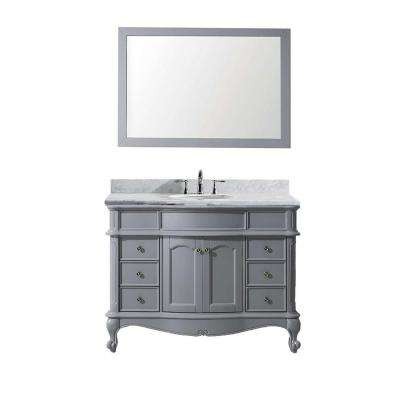 Norhaven 49 in. W Bath Vanity in Gray with Marble Vanity Top in White with Round Basin and Mirror