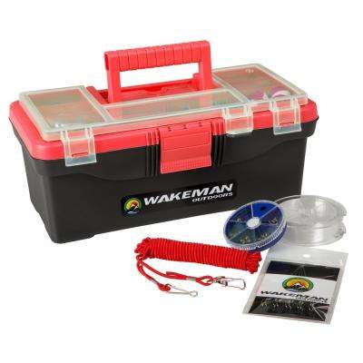 Red Fishing Single Tray Tackle Box Kit (55-Pieces)