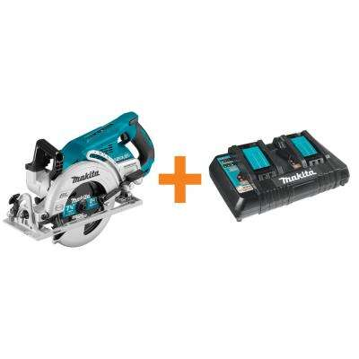 18-Volt X2 LXT Brushless Rear Handle 7-1/4 in. Circular Saw (Tool-Only) with Bonus 18-Volt LXT Dual Port Rapid Charger