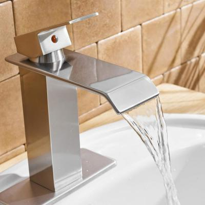 1-Hole Single Handle Square Waterfall Bathroom Sink Faucet Lavatory Faucets Commercial in Chrome